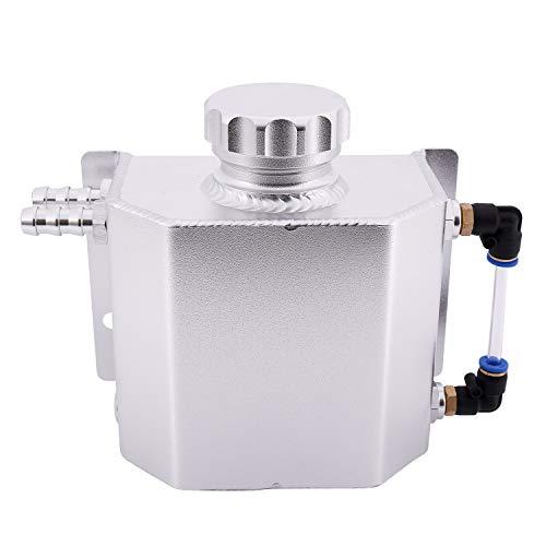 Gesh Tanque de aleación de expansión de refrigerante universal de aluminio de 1 L con tapón de drenaje de 1000 ml (plata)