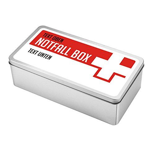 Herz & Heim® Keksdose als Notfallbox mit Aufdruck Ihres Wunschtextes in 2 Zeilen