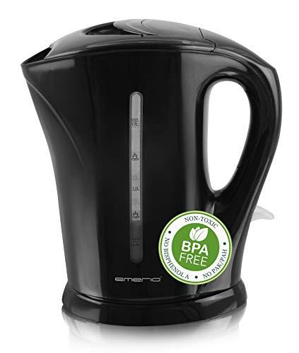 Emerio WK-111082.5 elektrischer Wasserkocher, BPA-freier Kunststoff, 2200 W, 1.7 l, kabellos mit Basis, Auto Off Funktion, Wasserstandsanzeige, Strix Controller, Schwarz, 1, 7L
