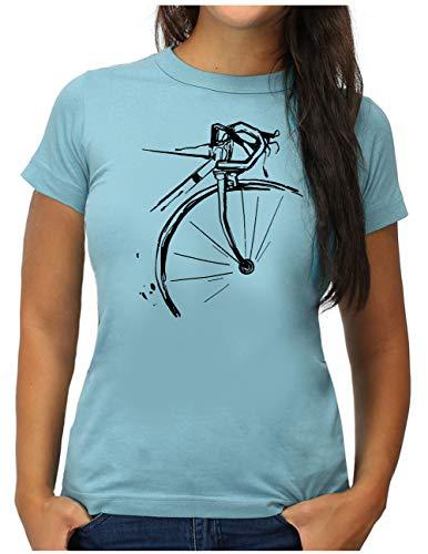 OM3® Bicycle Fahrrad T-Shirt   Damen   Vintage Radsport Radfahrer   L, Hellblau
