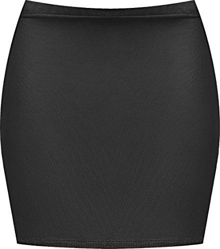 WearAll - Damen Bedruckt Dehnbar Jersey Figurbetontes Kurz Mini-Rock - Wet Look - 40-42