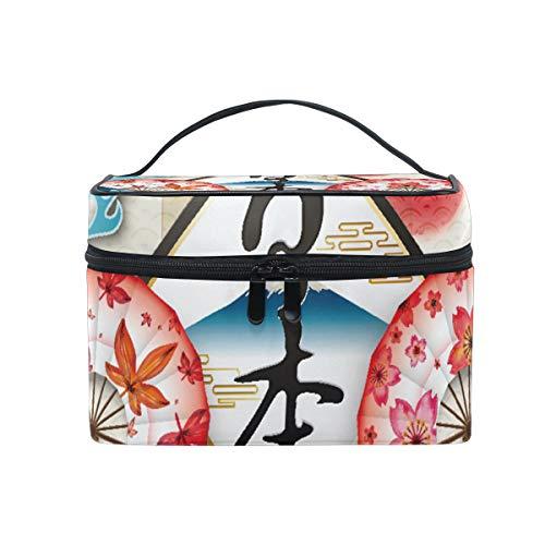 Trousse de Maquillage de Voyage Style Japonais Sakura - Trousse de Toilette Portable pour Femme et Fille