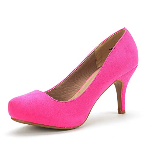 DREAM PAIRS Tiffany Women's New Classic Elegant Versatile Low Stiletto Heel Dress Platform Pumps Shoes Fuchsia Suede Size 8.5