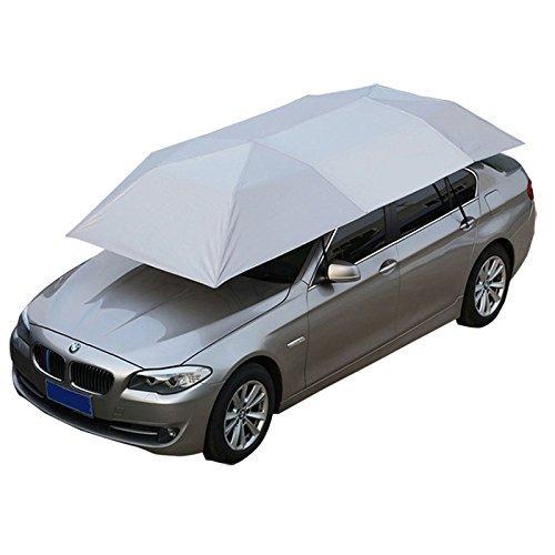 Jolitac Auto Zelt Regenschirm Sonnenschutz Tragbar Draußen Autogarage Wasserdicht 210 x 400 cm (Silber)