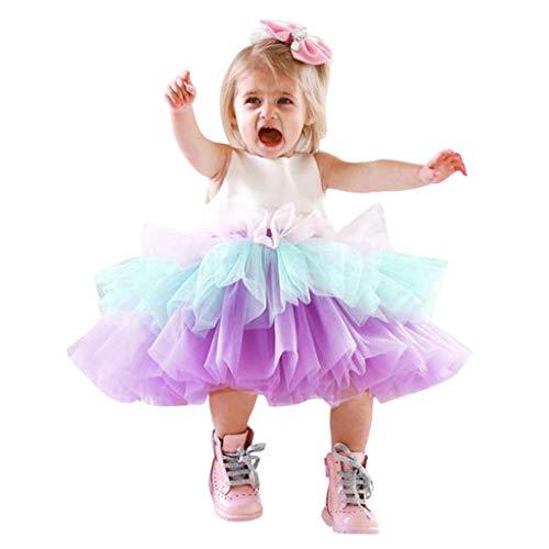 Frashing-Mädchen Kleider Frashing Kleinkind Kinder Baby Mädchen Ärmellose Tüll Prinzessin Party Pageant Brautkleider Farbverlauf Mini Kleid Regular Fit Party Kleid