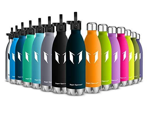 Super Sparrow Trinkflasche Edelstahl - Wasserflasche Doppelwandig Vakuum Isoliert Edelstahl - Kleiner Mund - 750ml - Auslaufsicher Sport Trinkflaschen | Ideale Flasche - 2 Deckel (Jade)