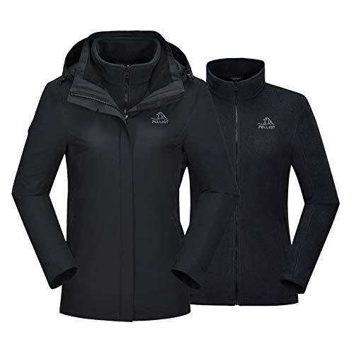 PELLIOT Women's 3-in-1 Hooded Ski Jacket Fleece Liner Removable Windproof Waterproof Jackets Cold Weather Coat Casual Jacket Black