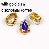 4320 Drop Rhinestone Crystal AB Fancy Stone Coser en Diamantes de imitación con Plata/Oro Configuración Strass Garment Jewelry Accessories, con configuración de Oro, 10X14mm-48pcs
