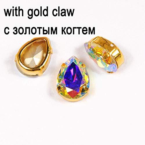 4320 Drop Rhinestone Crystal AB Fancy Stone Naai strass steentjes met zilveren/gouden zetting Strass kledingstuk sieraden accessoires, met gouden zetting, 20X30mm-8st