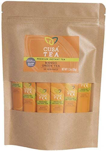 Cusa Tea: Mango Green Premium Instant Tea - Real Fruit and Spices - No Sugar or Artificial Flavors - Ready in Seconds - Hot or Iced Tea (30 Servings)
