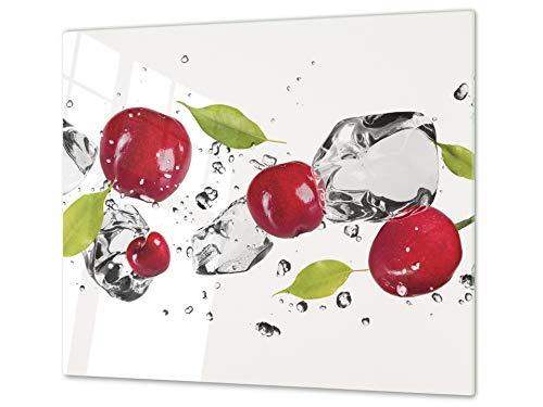Tabla de cocina de vidrio templado - Tabla de cortar de cristal resistente – Cubre Vitro Decorativo – UNA PIEZA (60 x 52 cm) o DOS PIEZAS (30 x 52 cm); D07H Frutas y verduras