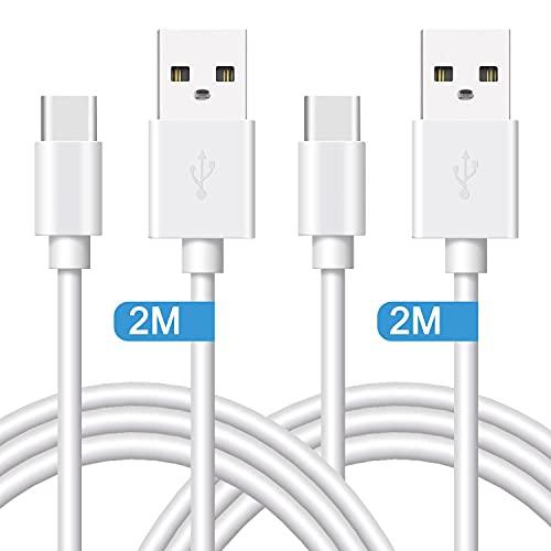 Quntis Lot de 2 Câbles USB Type C 2M Charge Rapide, Certifié 18w, Chargeur USB C Blanc pour Samsung Galaxy S21 S20+ S10 S10E S9 S8 Plus A5 A3 2017 A8 2018 / Chargeur Huawei P9 P10 P20 Nexus 5X 6 Sony