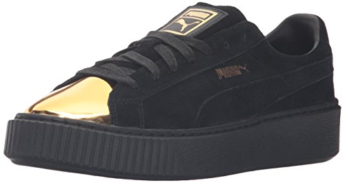 PUMA Women's Suede Platform Fashion Sneaker, Gold Black, 7 M US