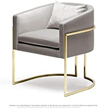 ZNBJJWCP Pink Grey Soft Velvet Casting Iron Golden Metal Armchair Living Room Single Sofa Dresser Coffee Salon Couch Leisu...
