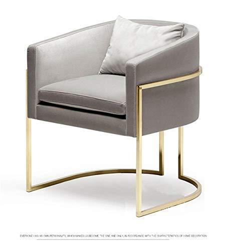 TWDYC Rosa Grigio Morbido Velluto ghisa Metallo Dorato Poltrona da Salotto Divano Dresser caffè Salon Couch Tempo Libero Sgabello (Color : Gray)