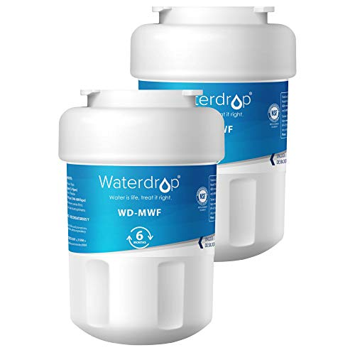 Waterdrop MWF Fridge Freezer Water Filter for General Electric GE SmartWater MWF, MWFA, MWFP, GWF, GWFA, GWF01; Hotpoint HWF, HWFA, MWF, MWFA, Sears/Kenmore 9991, 46-9991, 469991, 9996, 9905 (2)