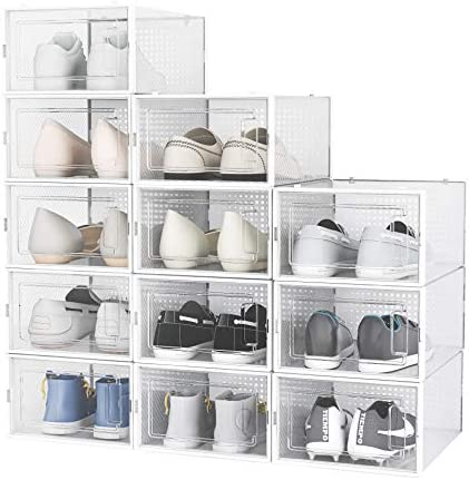 RISETEX 12 Pack Shoe Boxes Clear Plastic Stackable Drop Front Sneaker Display Containers with product image