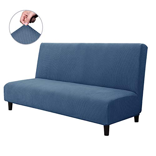 CHUN YI Jacquard Stretch Armless Sofa Slipcover, Soft Elastic Fitted Folding Sofa Bed Cover Without Armrest, Removable Machine Washable Non-Slip Furniture Protector for Futon Couch (Denim Blue)