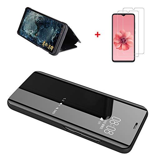 GoodcAcy hülle Kompatibel mit Xiaomi Redmi Note 8 pro Spiegel Handyhülle Schutzhülle Flip Cover Schutz Tasche mit Standfunktion 360 Grad hülle für Xiaomi Redmi Note 8 pro Schwarz+2 StückSchutzfolie