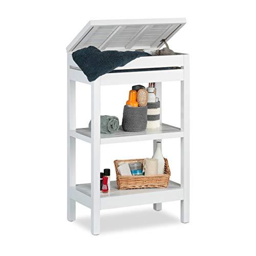 Relaxdays, blanc salle de bain bambou, étagère à 3 niveaux, Compartiment couvercle, HxLxP 76,5 x 46 x 29,5 cm, 1 élément