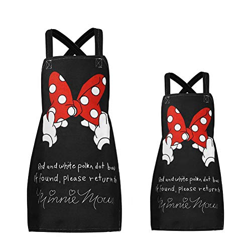 Sanlykate 2 Pack Cotton Linen Parent and Child Apron, Cute Cartoon Pattern Family Aprons for Father Mother Son Daughter, Adjustable Lovely Apron for Boys Girls Kitchen Cooking Painting