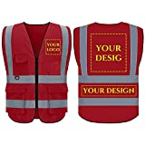 Custom Logo Safety Vest, Multi-Functional Reflective Safety Vest, Class 2 ANSI with 5 Pockets Zipper High Visibility Construction Uniform(Red,S)