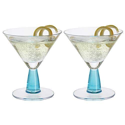 Dartington Crystal Gin Connoisseur Martini - Par de Cristales (140 mm de Altura), Color Azul
