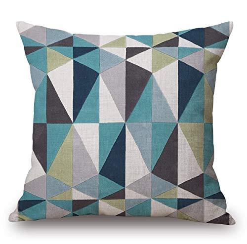 yywl Funda de cojín azul moderna geométrica nórdica, de viaje, para el cuerpo, de lino, para cama, sofá, sillón, cojín, decoración del hogar