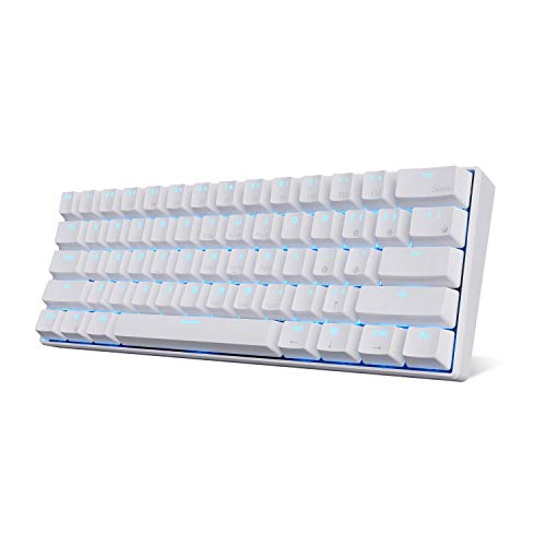 Royal Kludge RK61 Bluetooth 3.0 Multi-Device LED Backlit Mechanical Gaming/Office QWERTY Tastatur für iOS, Android, Windows und Mac, Blauer Schalter, Weiß