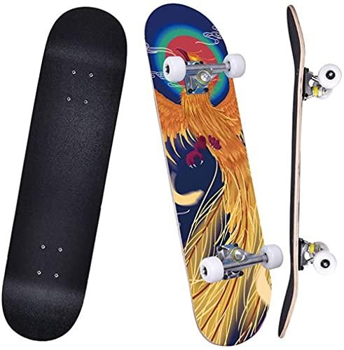 Patinetas de 31 Pulgadas Pro Skateboard Completo 7 Capas de patinetas de Arcepara niños de 7 años de Edad, Principiantes, niñas, niños, Adolescentes (Phoenix Chaoyang) oein