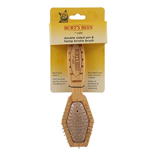 Burt's Bees for Cats 2-in-1 Double Sided Pin & Bristle Brush for Cats | One Side of Cat Brush Removes Loose Fur and Prevents Matting | Cat Brush is Ideal for Daily Grooming (Misc.)