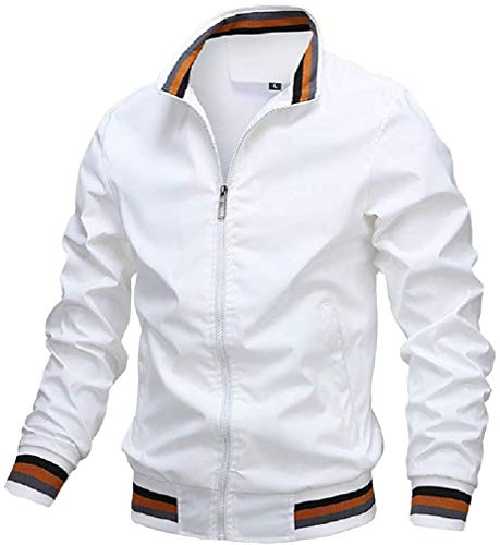 Wndxfhdscd Mens Zip Front Slim Lightweight Hipster Softshell Stand Collar Bomber Jacket,White,X-Small