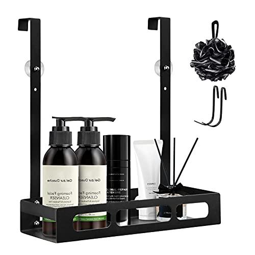 AUING Estantería de ducha para colgar, estante de ducha de metal para colgar en cabinas de ducha, cesta de ducha con ventosa estable, sin taladrar.