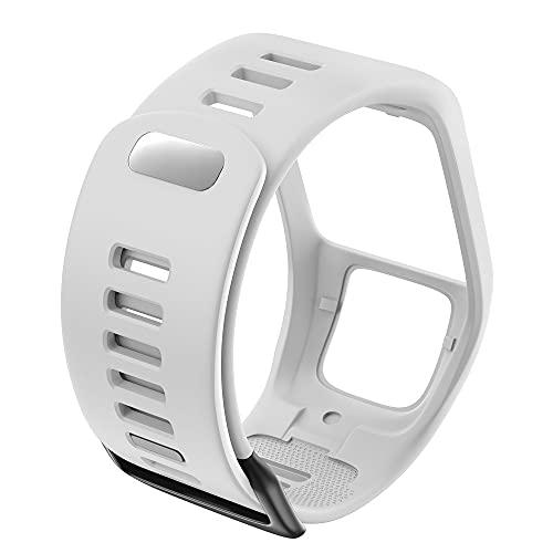DJDLOK Silicona Reemplazo de Pulsera Reloj Correa para Tomtom Runner 2 3 Spark 3 GPS Reloj Deportivo para Tomtom 2 3 Series Soft Smart Band (Band Color : White)