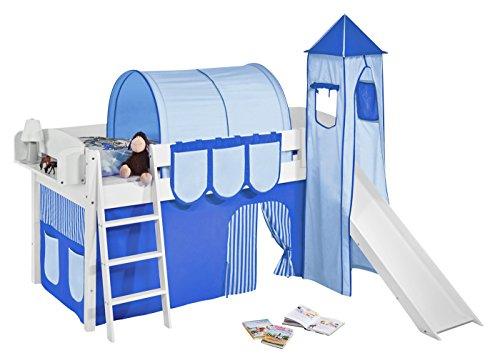 Lilokids Spielbett IDA 4105 Blau-Teilbares Systemhochbett weiß-mit Turm, Rutsche und Vorhang Kinderbett, Holz, 208 x 220 x 185 cm