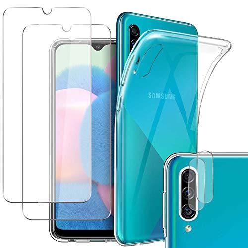 Pengkun 5 en 1 Funda para Samsung Galaxy A50/ A30S/ A50S con 2 Cristal Templado 2 Cristal Templado para cámara Trasera Transparente Silicona TPU para Samsung Galaxy A50/ A30S/ A50S