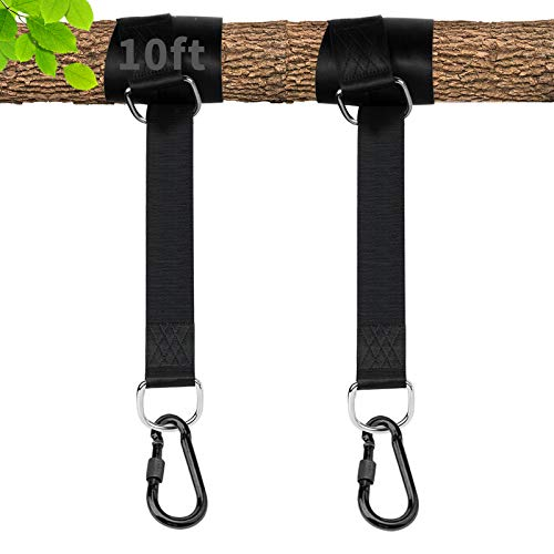 Tree Swing Hanging Straps Kit Holds 1000 lbs with10ft Extra Long Straps Strap and Carabiner Hooks Perfect for Tree Swing & Web Swing, Saucer Swing, tire Swing/Porch/Hammocks/Patio Swings (10FT)