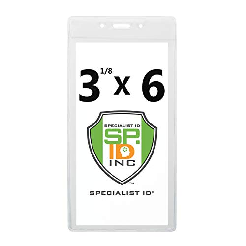 """3X6"""" Clear Vinyl Badge Holders - Large Vertical Plastic Promotional Event Sleeves or Travel Tag Covers for Cruise Luggage, Event Labels or Name Inserts by Specialist ID (Maximum Insert Size 3 1/8 X 6)"""