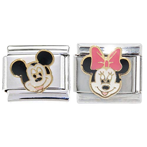 Mickey Mouse and Minnie Mouse 9mm Italian Charms - 9mm Italian Charm fits Zoppini, Talexia, Boxing and Classic Italian Charm Bracelets