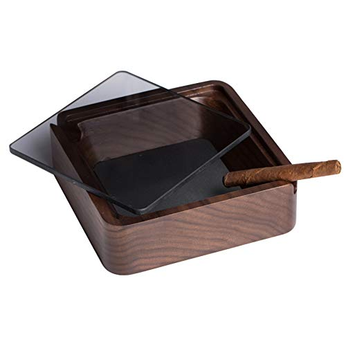 ZIYI Wooden Ashtray With Lids,windproof Outdoor Ashtray,smell Proof Ashtray,desktop Decorations,used For Living Room And Office Teahouse (11 * 3.6cm)