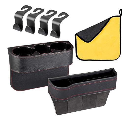 2 piece Car Cup Holder Phone Holder Multifunctional Car Seat Organizer Front Seat Gap Filler Seat Gap Storage Box Car Accessories Interior (Black)