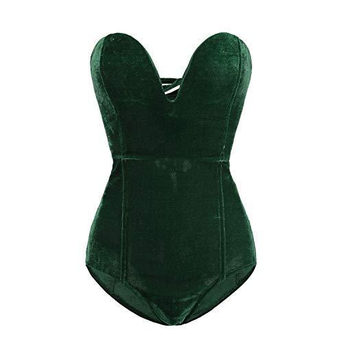 Clothink Women Strapless Velvet Bodysuit Back Lace Up Jumpsuit