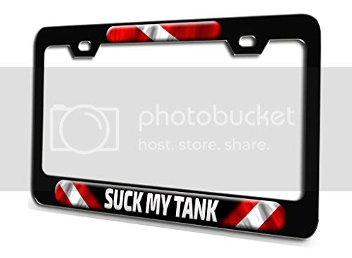 Makoroni - Suck My Tank Scuba Diving Bl 3D Metal License Plate Frame Auto SUV Truck Tag Holder, h62
