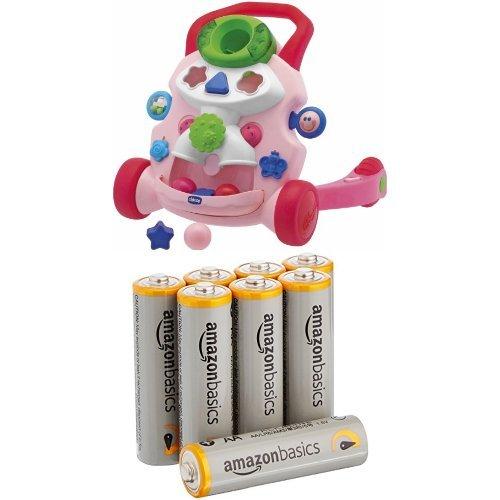Chicco Jouet premier âge Trott'Gym Fille & Amazon Basics Lot de 8 piles alcalines Type AA 1,5 V 2875 mAh (design variable)