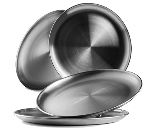 Reusable Brushed Metal 188 Dinner Plates- Vintage Quality 304 Stainless Steel Silver Color Heavy Duty Kitchenware Round Metal 9 Inch Plates  Dishwasher Safe  BPA Free Use for BBQ Steak 4 Pack