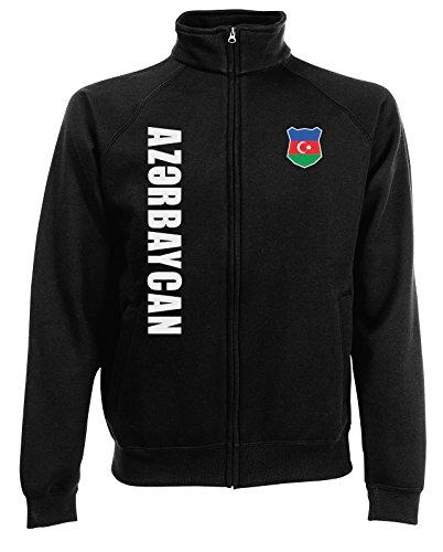 AkyTEX Aserbaidschan Azerbaycan Sweatjacke Jacke Trikot Wunschname Wunschnummer (Schwarz, S)