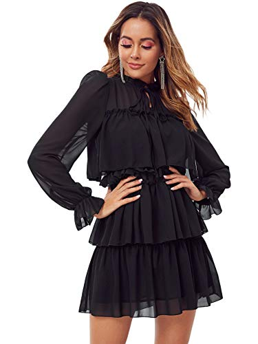 DIDK Damen Kleid Elegant Langarm Mini Blusekleid mit Halsband Rüsche und Raffungsaum Bollenkleid Schwarz S