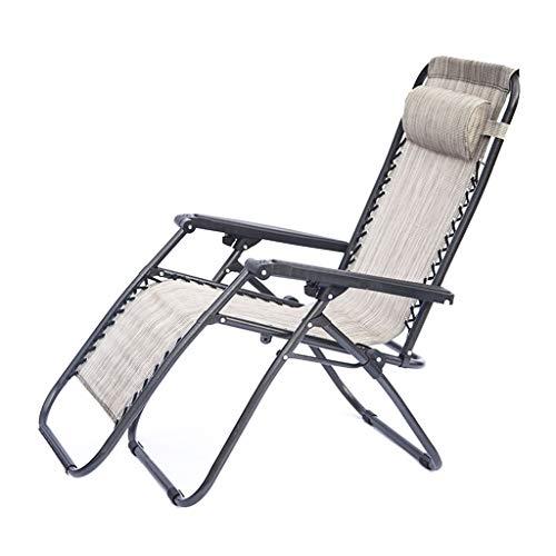 Chaise de Loisir sans gravité avec accoudoirs Larges, Fauteuil inclinable, Support d'appui-tête détachable 300 LB, adapté à la pêche sur la Plage, Jardin, Balcon, Beige