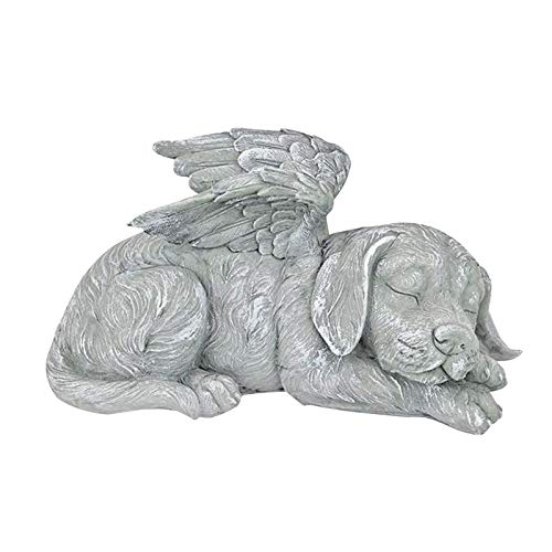 Angel Dog/Cat Garden Ornaments Outdoor, Stone Home Art Decoration, Animal Garden Sculptures Statues, Faithful Canine Angel Statue for Indoor Outdoor Ornament (Dog)