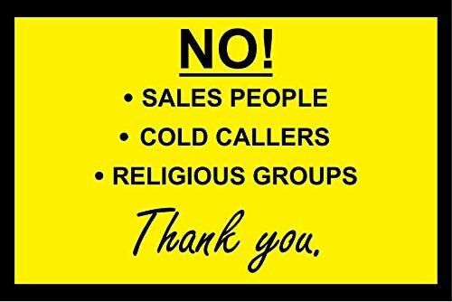 Nee! Koude bellers - Verkoop mensen - Religieuze groepen - Sign/Sticker/Vinyl Deur 15X10CM